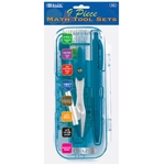 BAZIC Bright Color 9 Piece, Rulers, Protractor, Mechanical Pencil, Compass Math Tool Sets - Blue - B452