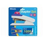 Bazic Comfort Grip Desktop Standard Stapler with Staples Remover and 1000 Staples - Blue