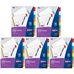 Avery 8-Tab Binder Dividers,5 Set, Write   Erase Multicolor Big Tabs, 3-hole punched Ready for Use