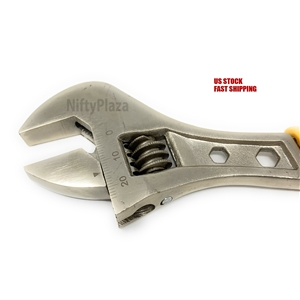 "8/"" Adjustable Wrench Spanner Tool Grip Hand Smooth to Rotate Machined Jaws"